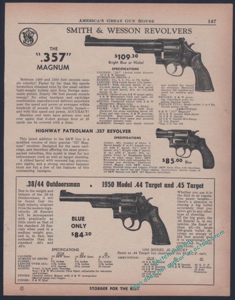 1955 SMITH & WESSON 357 Magnum, Highway Patrolman, 38/44 Outdoorsman ...