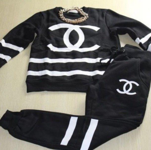 chanel tracksuit. sweater black joggers crewneck chanel cc streetwear urban tracksuit a