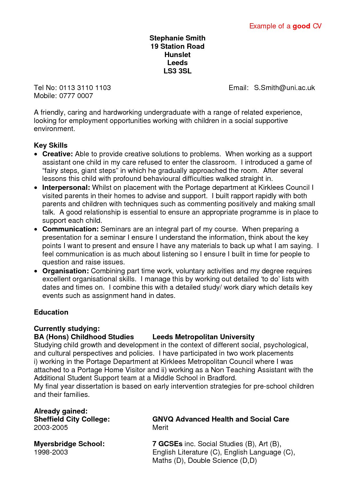 Resume Sample Format For Job Application