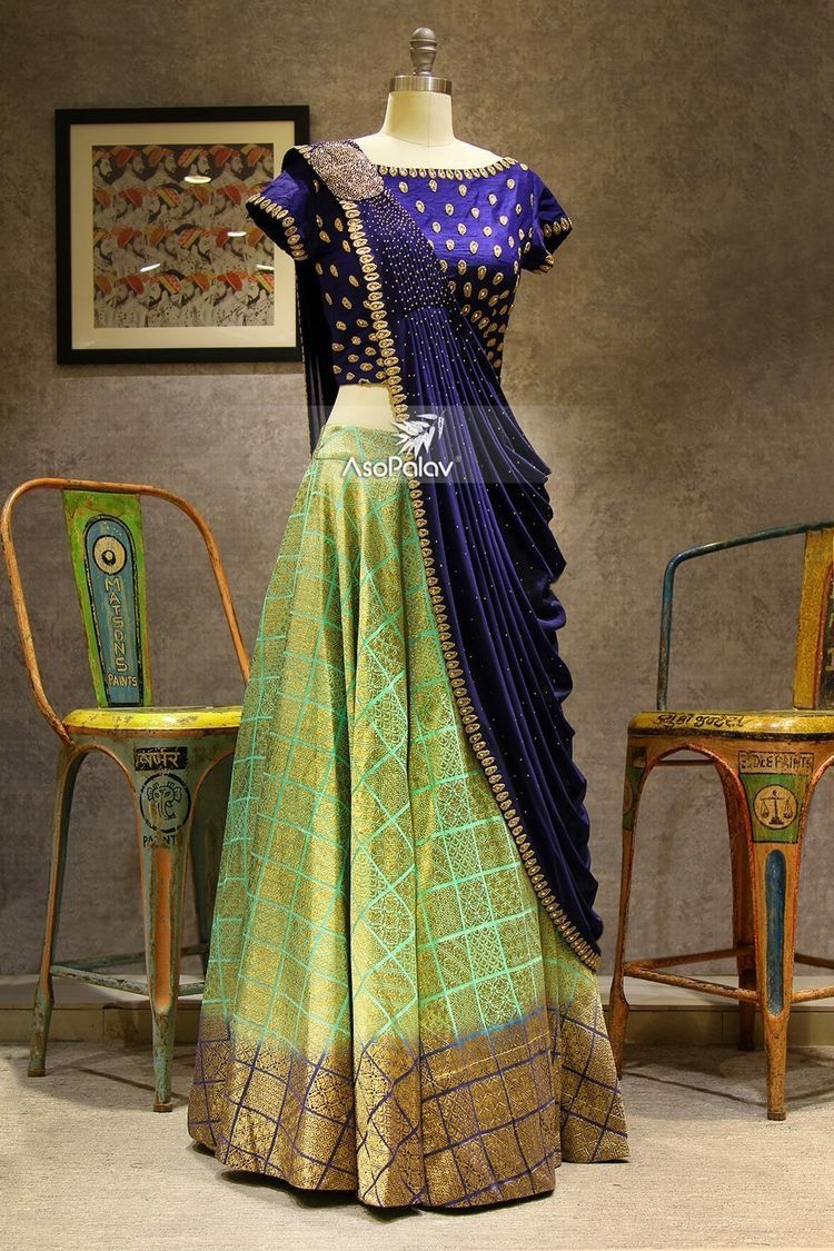 Modern half saree blouse designs clothes  clothes  pinterest  peacock blue green colors and peacocks