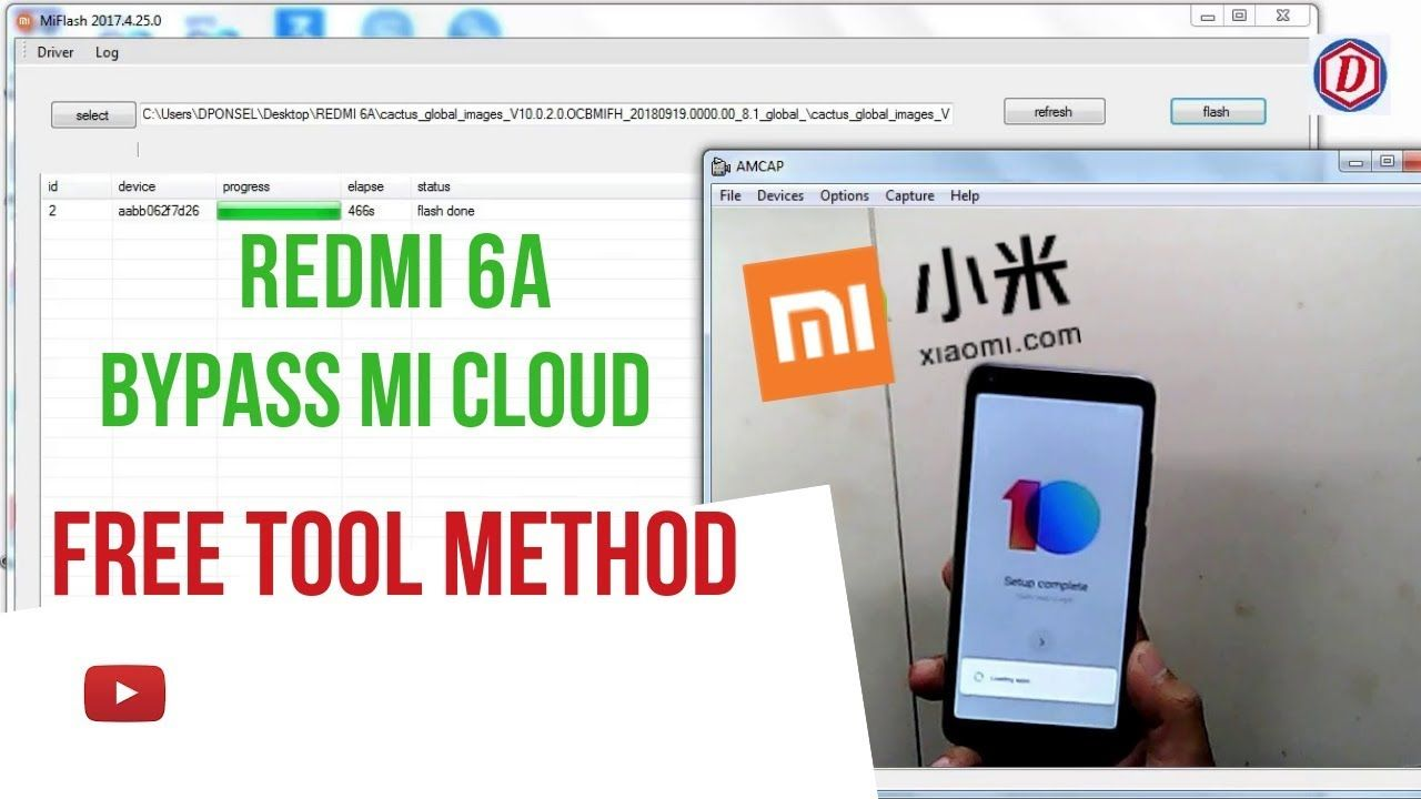 Bypass Mi Cloud Redmi 6a Miui 10 Global||Anti Reload (Free Tool