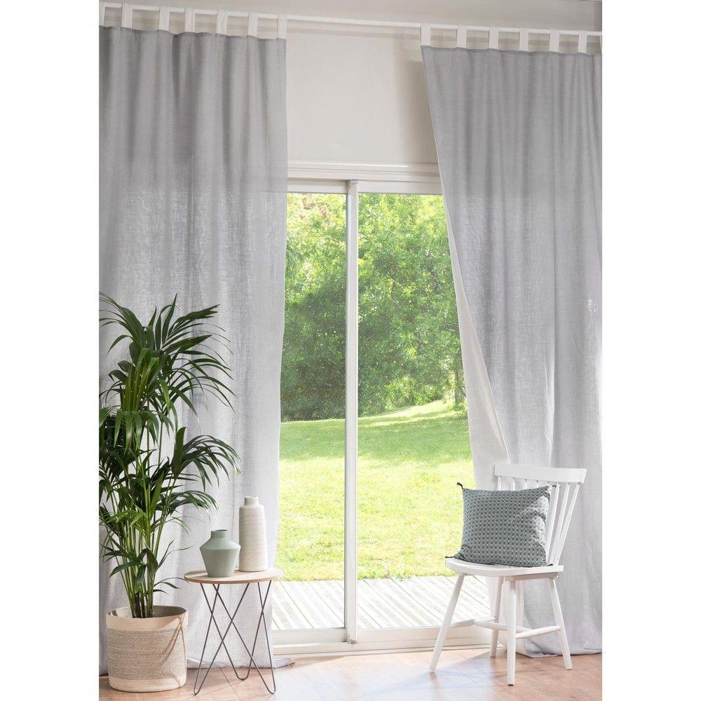 elegant rideau double passants en lin cru et gris x. Black Bedroom Furniture Sets. Home Design Ideas