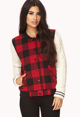 My 3 favorite things of the moment combined: bomber jacket + cable knit + oversized gingham. (i bought it)