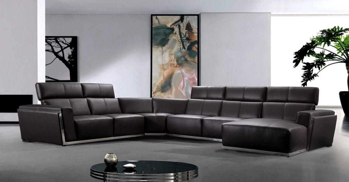 Brown Leder Schnitt Sofa Ecksofas Modernes Ledersofa Sofa
