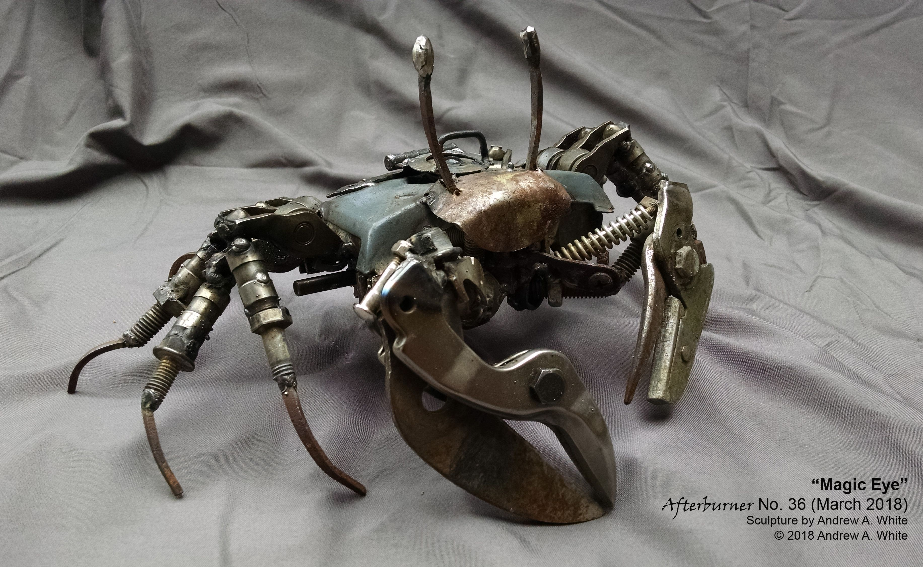 Magic Eye S Metal Art Ghost Crab Made From An Old Radio Tuner A Piece Of Vacuum Cleaner Vw Engine Parts And Other Odds Ends