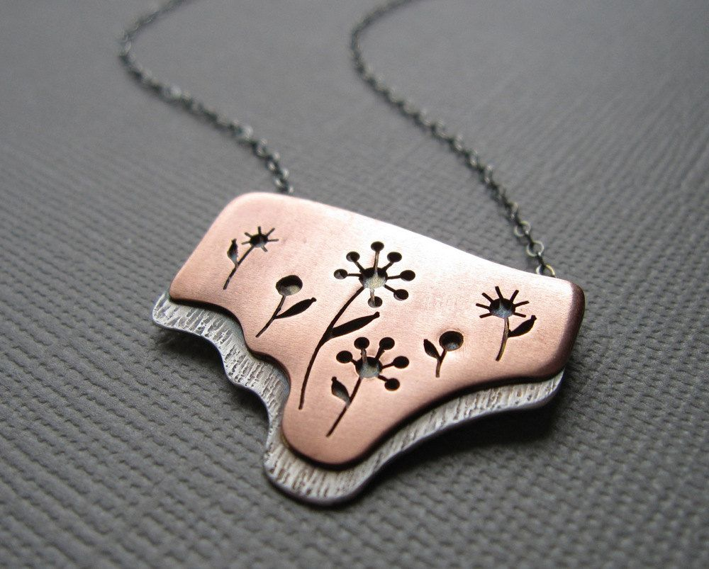 Wildflowers Copper Flower Necklace Mixed Metal Sterling Silver Pendant