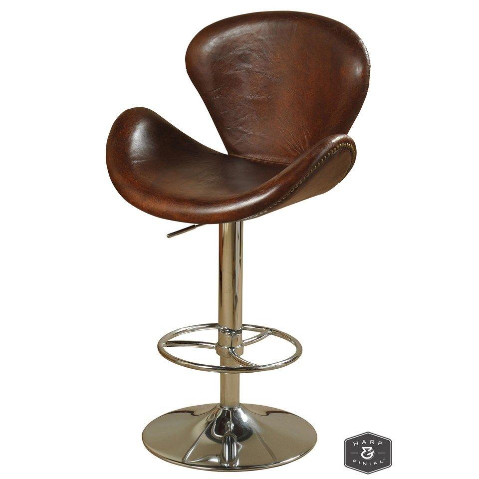 Winston swivel stool brown vintage leather brown with chrome winston swivel stool brown vintage leather brown with chrome finish on adjustable bar jeuxipadfo Choice Image