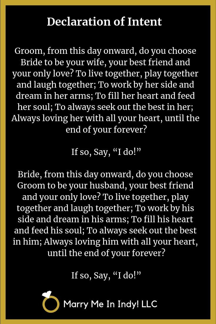 Pin on Declaration of Intent Wedding Vows