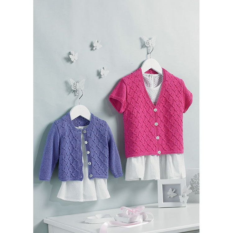 King Cole Baby Cardigans /& Sweater Baby Pure Knitting Pattern 4904 DK K...