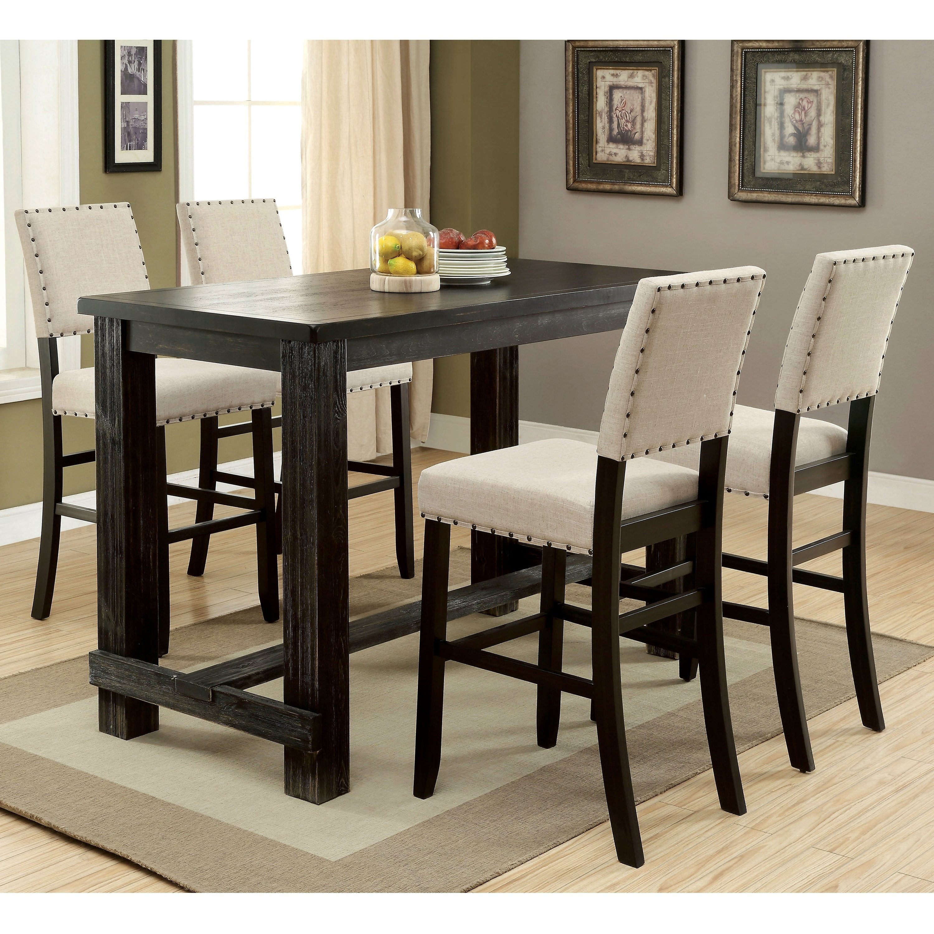 Richland Transitional Antique Black 5 Piece Bar Table Set By Foa