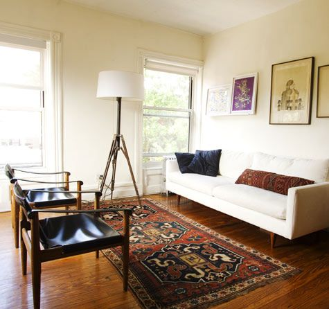 Mid Century Vibe With A Tribal Rug Rugs In Living Room Home Decor Living Decor