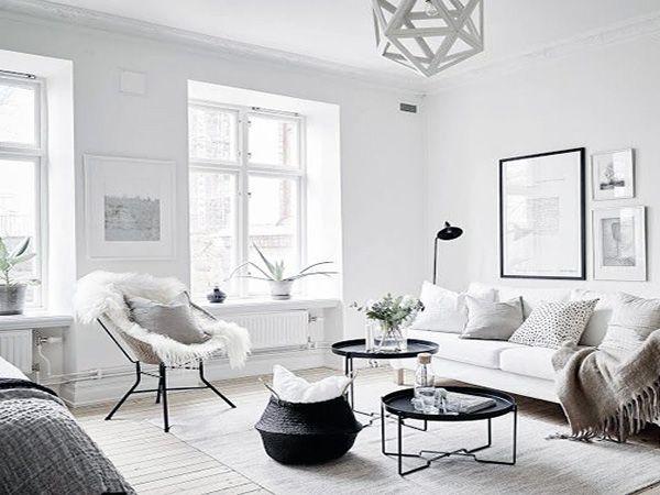bright Scandinavian Living Room design interior  Pinterest