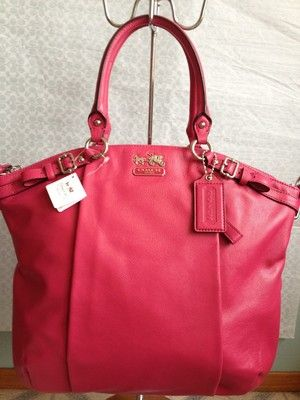 Coach Pink Fuchsia Madison Lindsey Leather Satchel Purse Bag The Dream