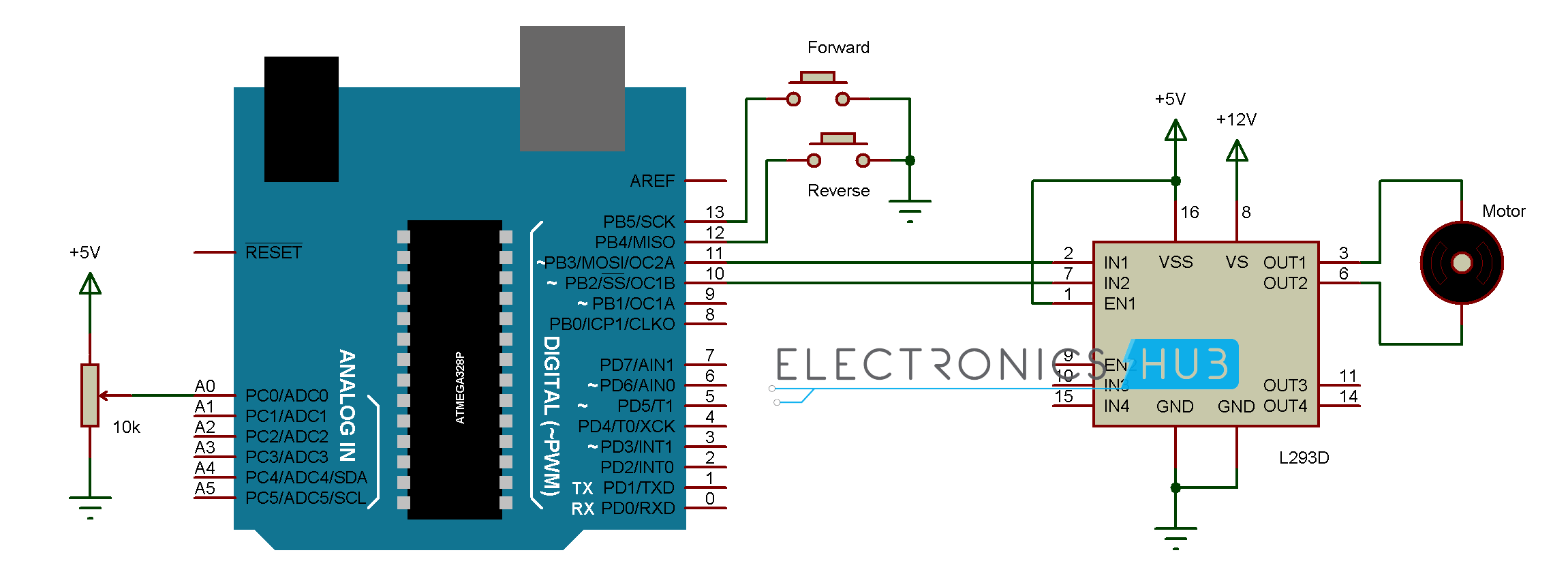 DC Motor Control With Arduino | Arduino and Circuit diagram
