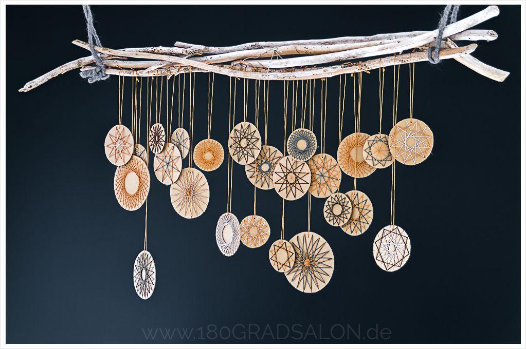 Fadengrafik Sterne aus Bäckergarn - Adventsdeko basteln #christbaumschmuckbastelnkinder