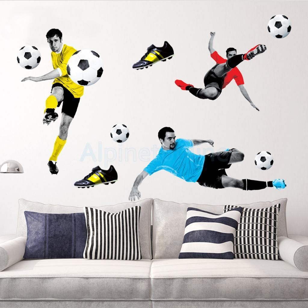 Details about Playing Football Wall Sticker Boys Room