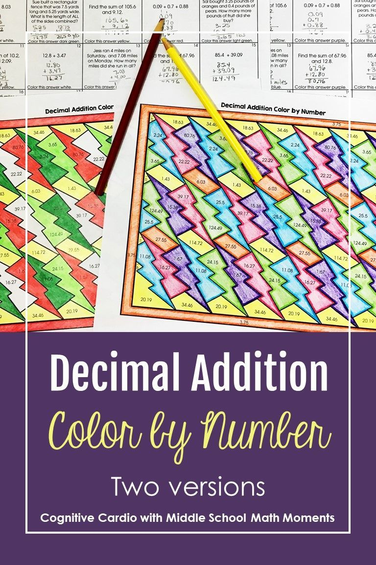 Adding Decimals Color by Number Distance Learning in 2020   Adding  decimals [ 1152 x 768 Pixel ]