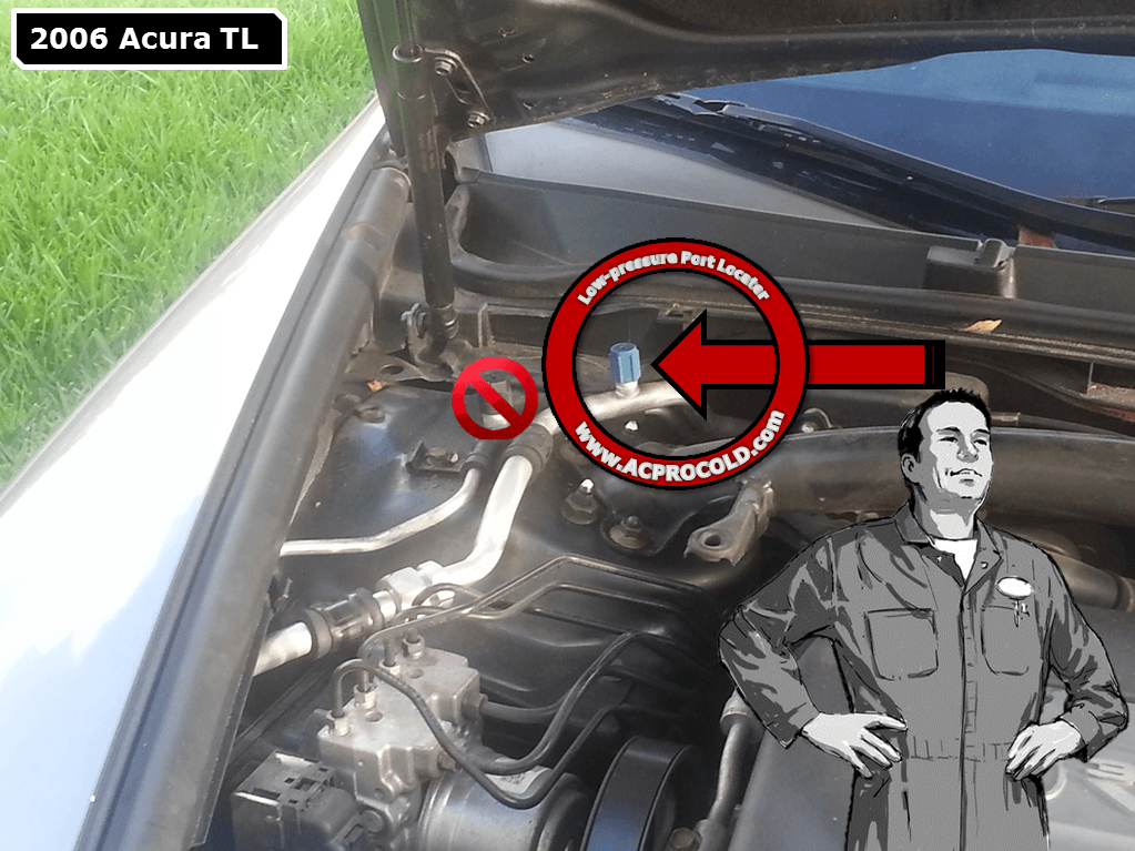 2006 Acura TL Low Side Port for A/C Recharge acprocold