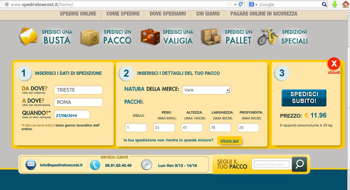 prezzo spedizione pacco in italia