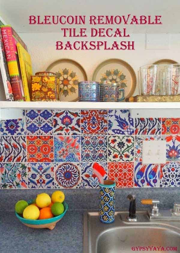 DIYKitchenBacksplash202 Bleucoin tile decal backsplash and