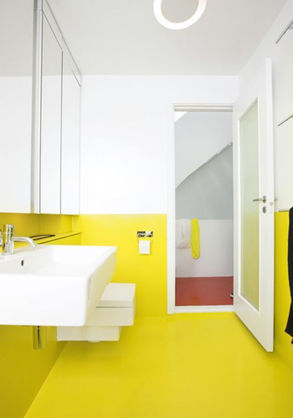 Bathroom Inspiration: Yellow and white walls and floor, Danish ...