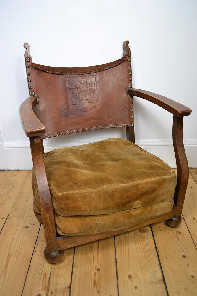 - ANTIQUE 1800'S LATE VICTORIAN 'FIRESIDE' CHAIR ORIGINAL OAK LEATHER