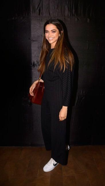 Yay or Nay? Deepika Padukone wearing a black striped ...