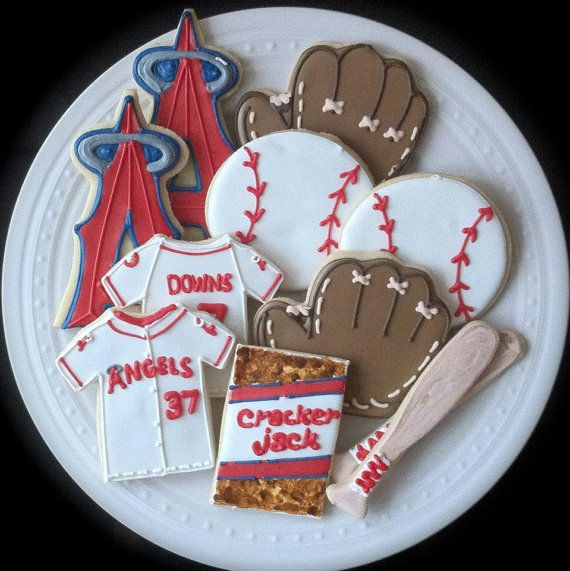 Los Angeles Angels Baseball Themed Decorated Cookies By