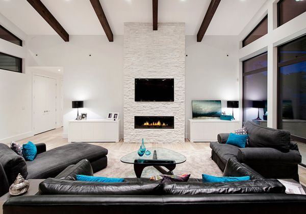 Minimalist Living Room In Black And White With Turquoise Cushion Accents Colors Of Nature Modern