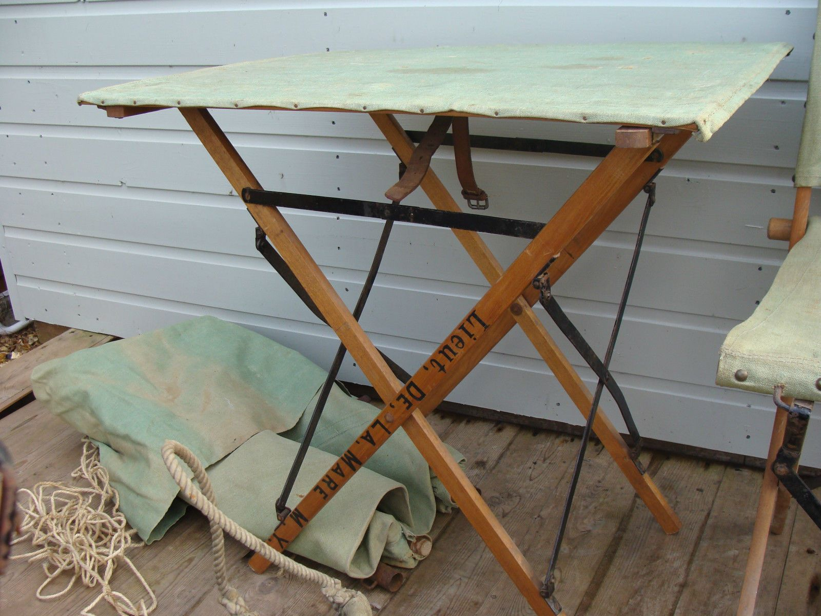 Folding camp table and chairs - An Original 1940s British Officer S X Patent Folding Camp Table With Canvas Covered Slat