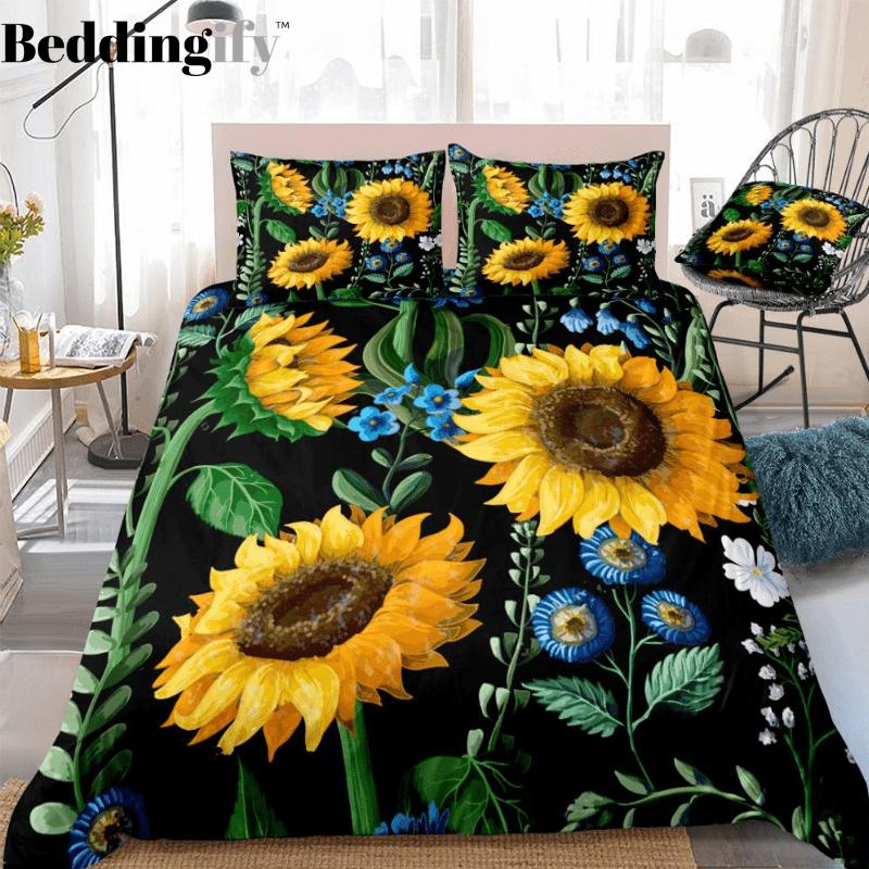 Floral Black Sunflower Bedding Set In 2020