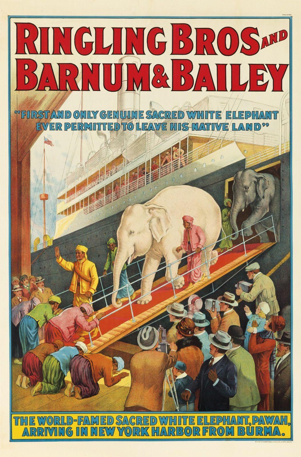 Ringling Bros White Elephant Circus Poster Vintage 1927