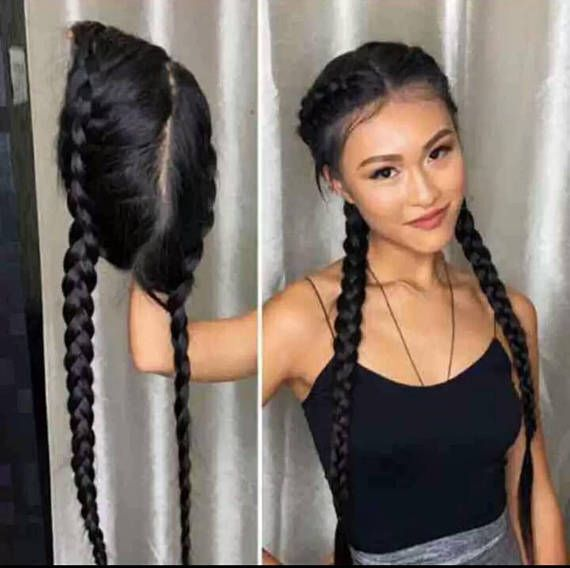Celebrity Lace Front 26 Inch Double Braided Or Striaight Wig Wig Hairstyles Front Lace Wigs Human Hair Wholesale Human Hair