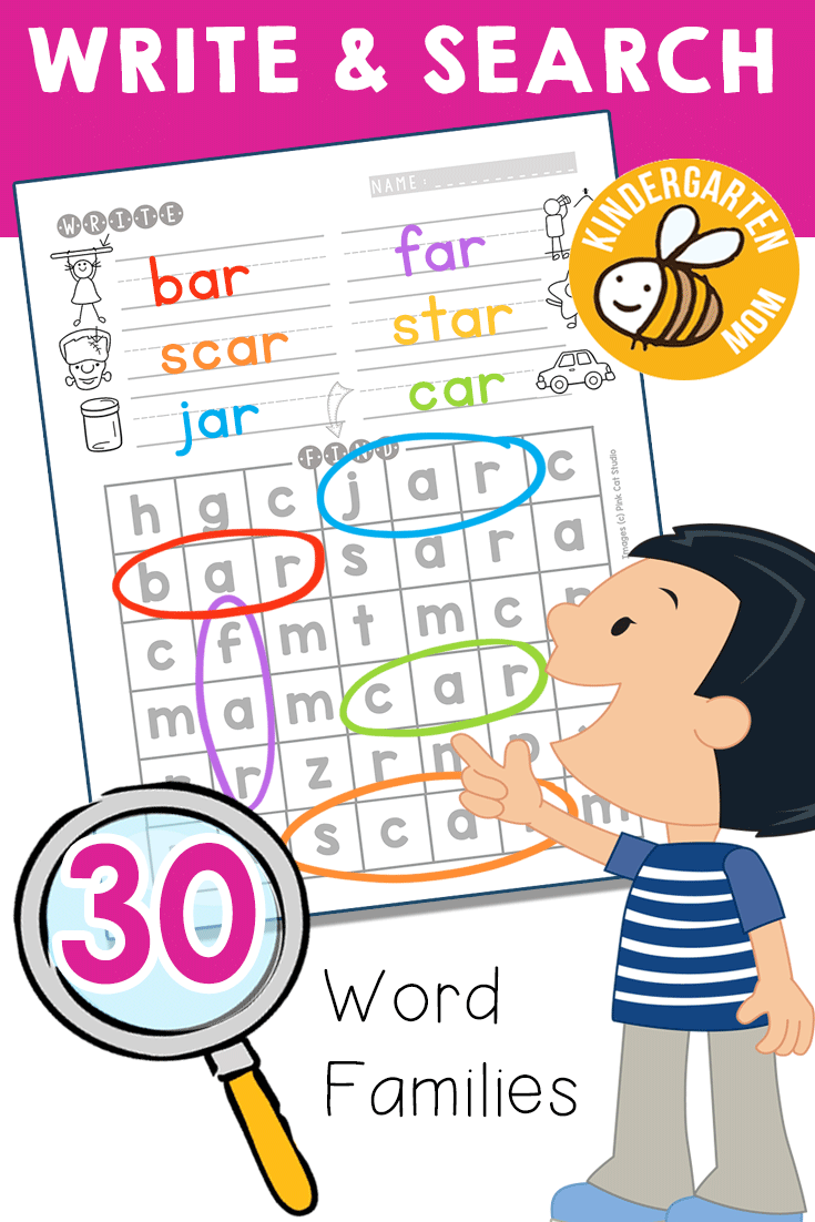Kindergarten Word Search Worksheets. 30 Word family word search ...