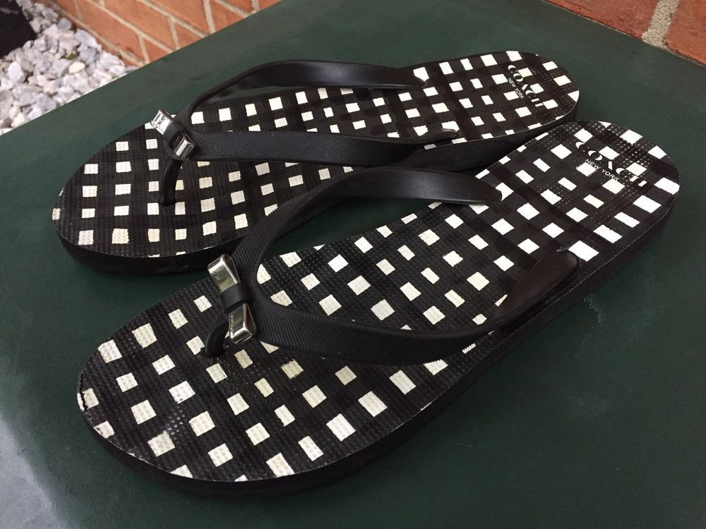 90403b862c530c COACH AMEL Women s Black White Checkered Bow Rubber Sandal Flip Flop Size  9-10
