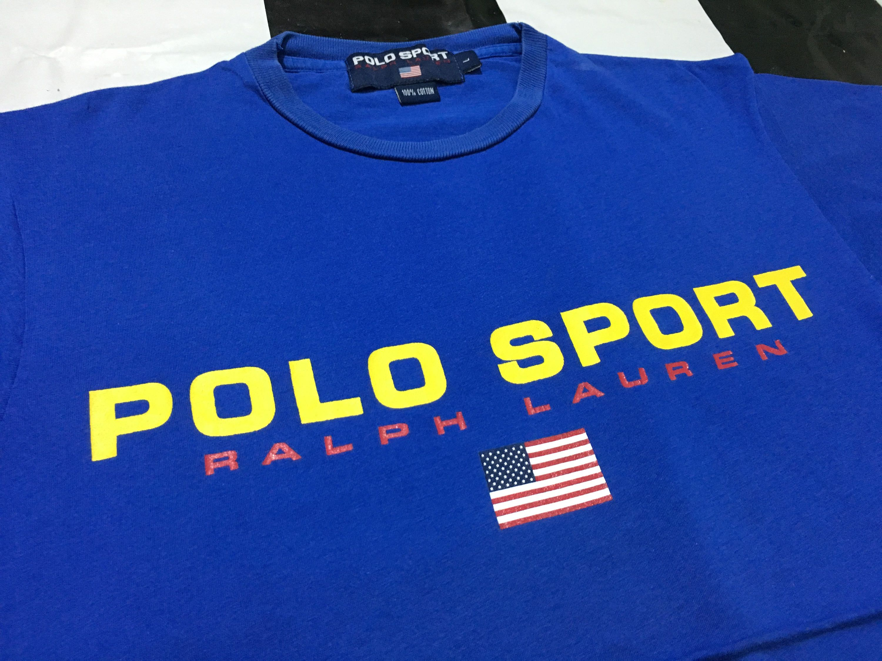 vintage polo sport t shirt spell out flag logo size l blue