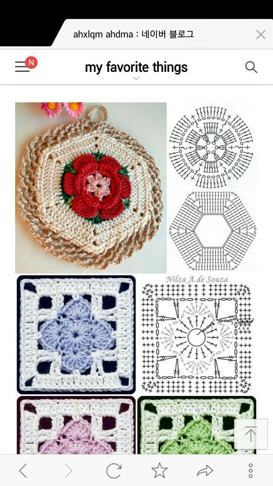 Crochet square hexagon with flower chart | Crochet | Pinterest ...