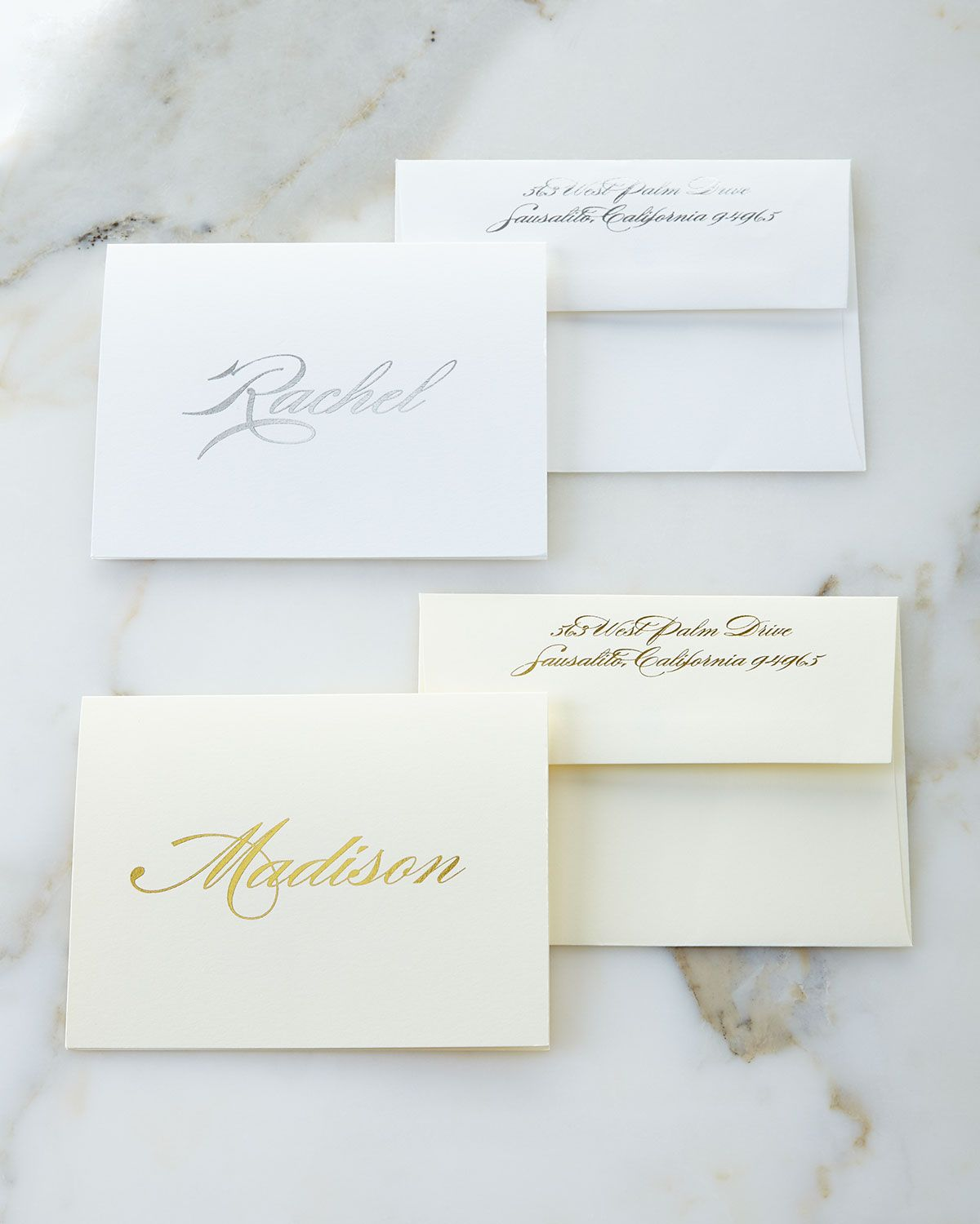 Foil embossed foldover notes with personalized envelopes