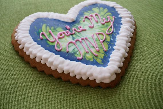 """Giant Seahawks """"You're My MVP"""" Cookie / Decorated Gingerbread or Sugar Cookie / Green Blue / Superbowl / X-Large Super Size / Valentine Gift..."""