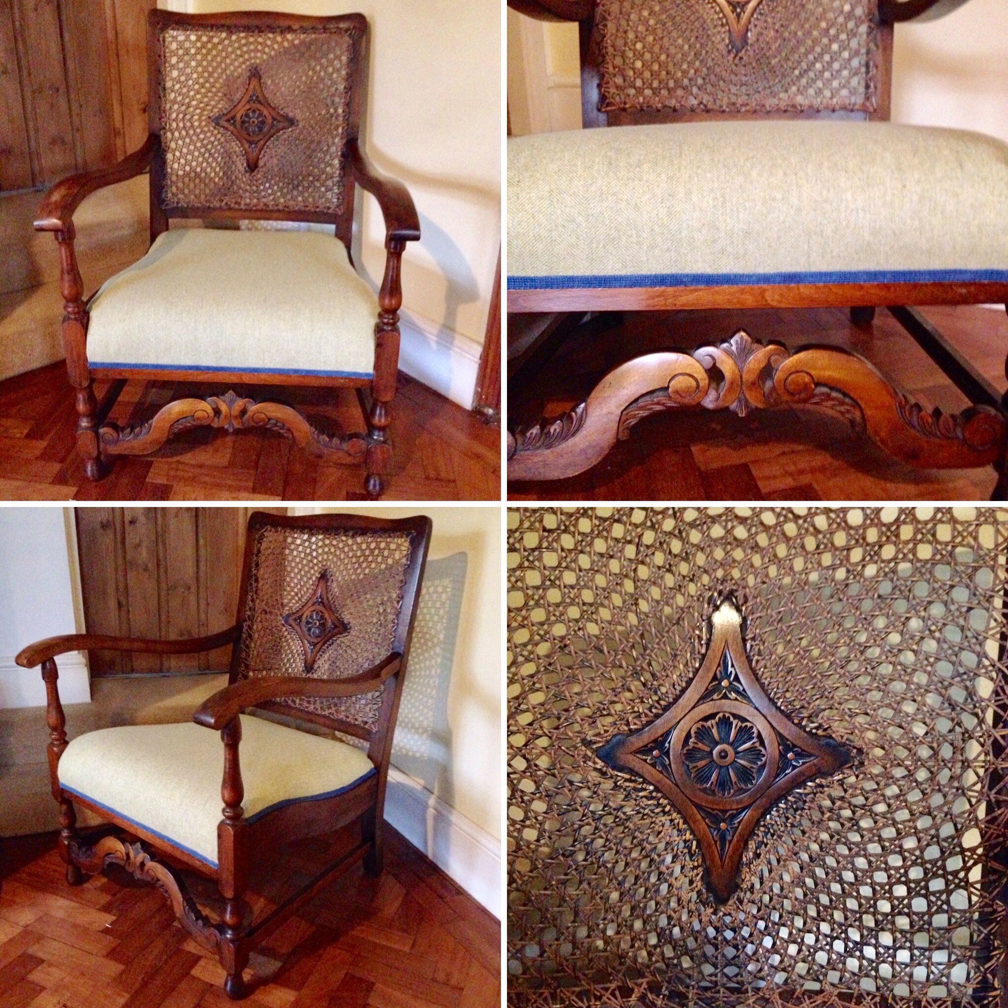 Unique antique cane chair, reupholstered in Abraham Moon