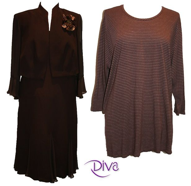 d5fe7f5e9d32 ... size two piece evening dress-jacket set and two tone stipe t-shirt can  be found at Diva Women s Wear in sultry
