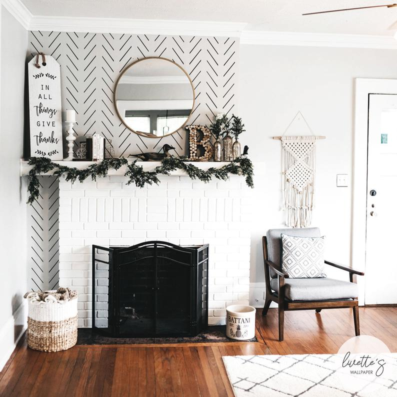 Modern Delicate Herringbone Wallpaper In Black And White Etsy Herringbone Wallpaper Waves Wallpaper Scandinavian Design