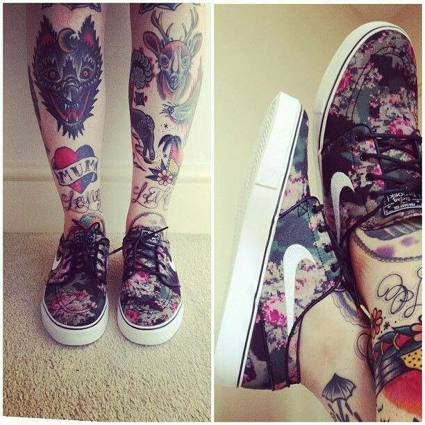 Traditional leg tattoos and shoes!