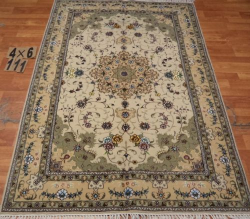 4'x6' Hand-knotted Wool n Silk Oriental Persian Tabriz Area Rug ~New 111
