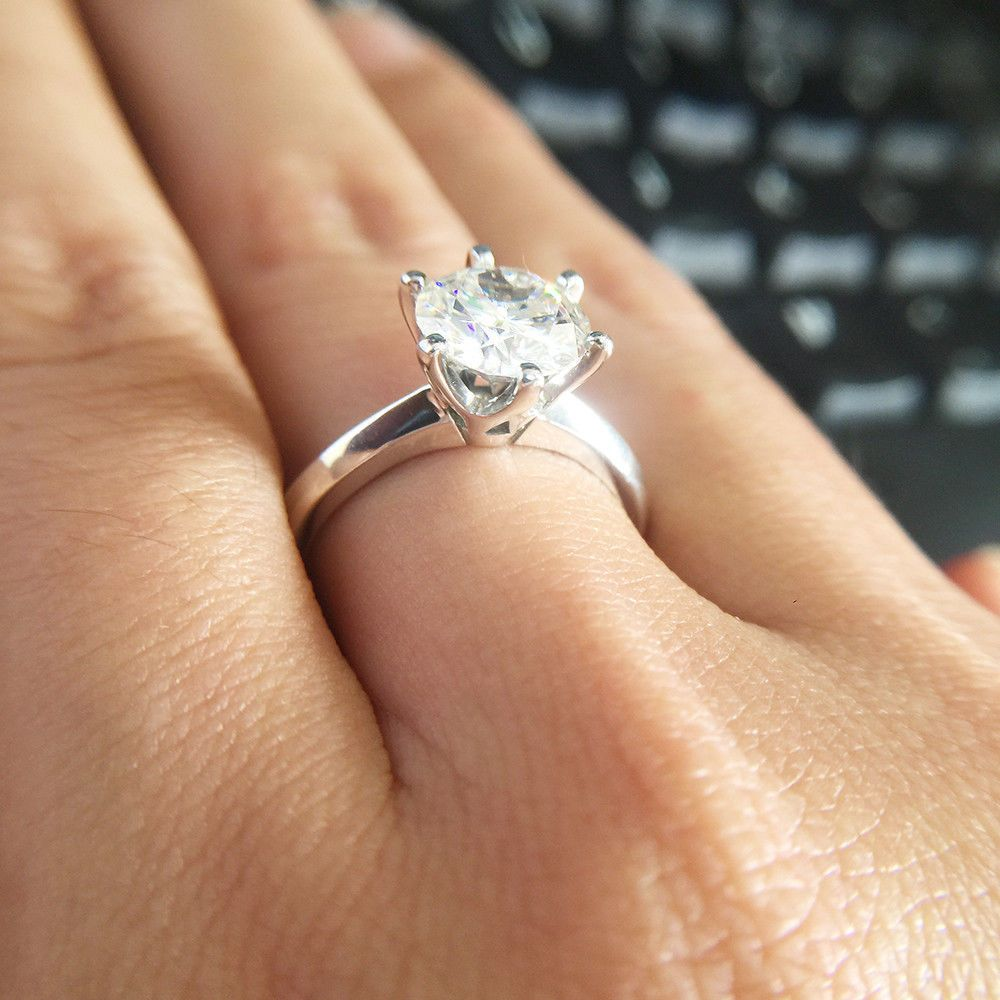 1 2 Ct Round Moissanite Classic 6 Prongs Wedding Engagement Ring 14k White Gold Engagement Rings 14k Engagement Ring Wedding Rings Engagement