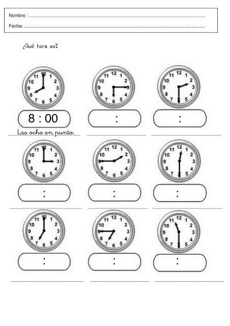 cd52c068e1c8 Aprender las horas en infantil y primaria  Fichas con ejercicios para  aprender y practicar las horas. Relojes para aprender las horas