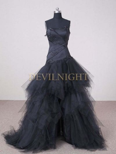 Black Strapless High-Low Gothic Wedding Dress - Devilnight.co.uk