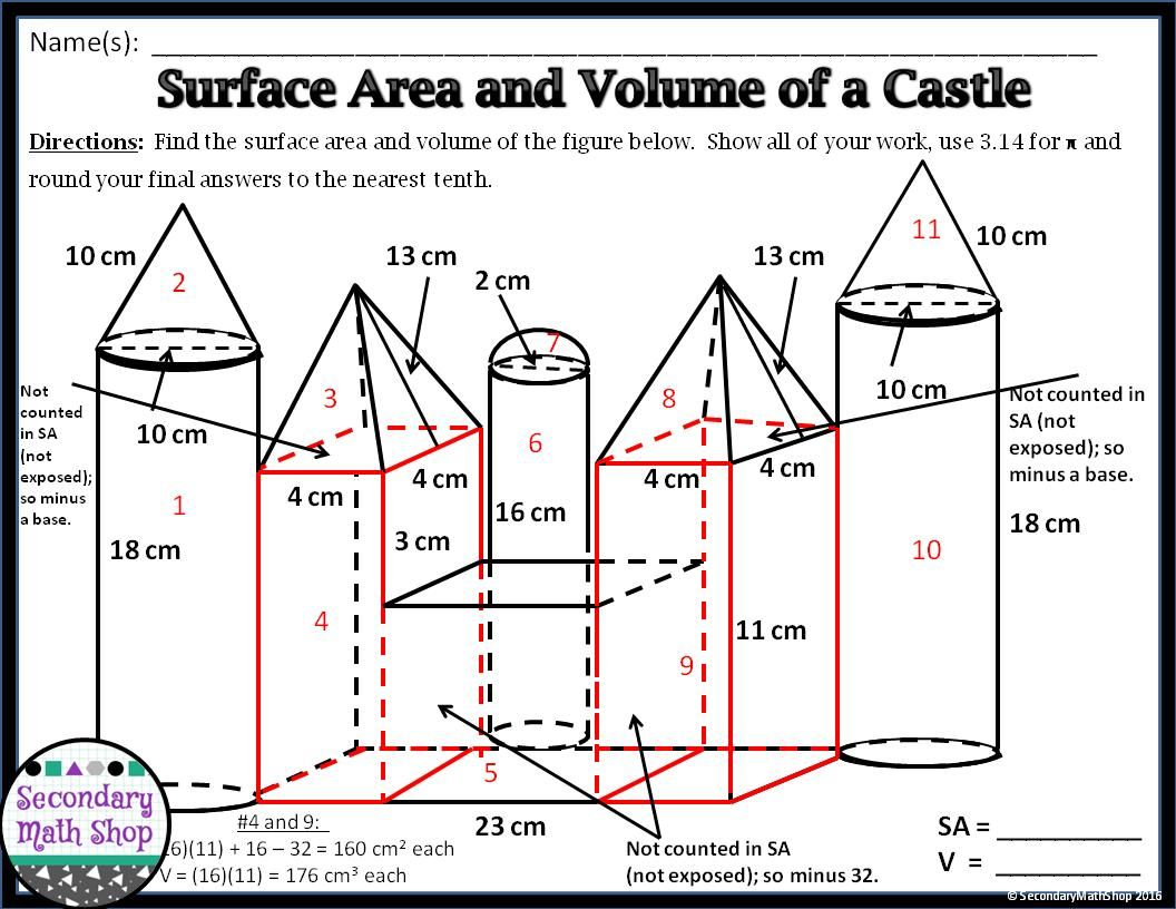 8 Math Worksheets For Grade 6 Surface Area Volume Math Secondary Math Teaching Geometry [ 816 x 1056 Pixel ]