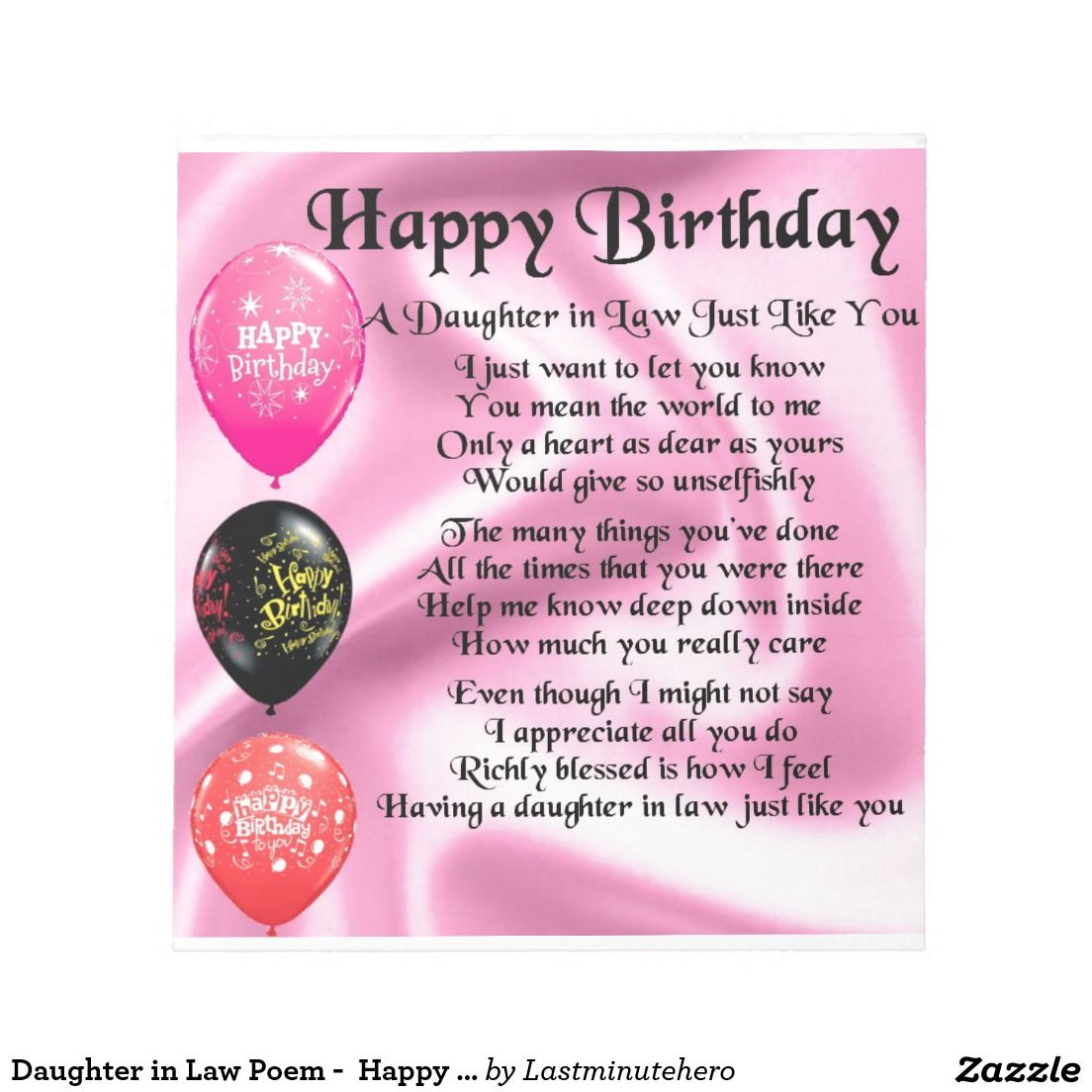 Daughter in Law Poem Happy Birthday Notepad Zazzle.co