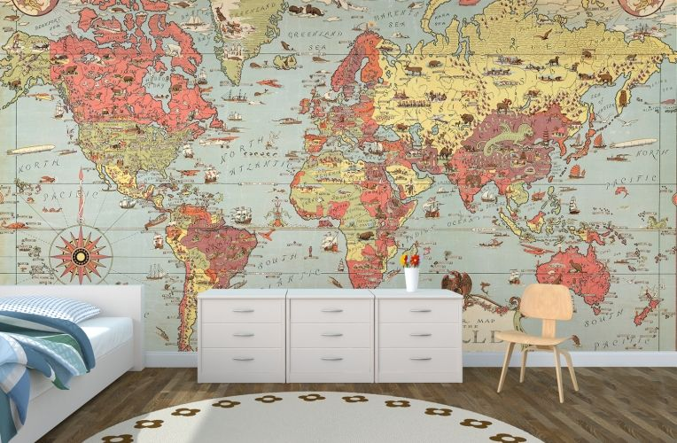 Kids vintage world map kids rooms room and bedrooms kids vintage world map muralswallpaper gumiabroncs Choice Image